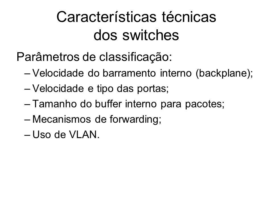 Características técnicas dos switches