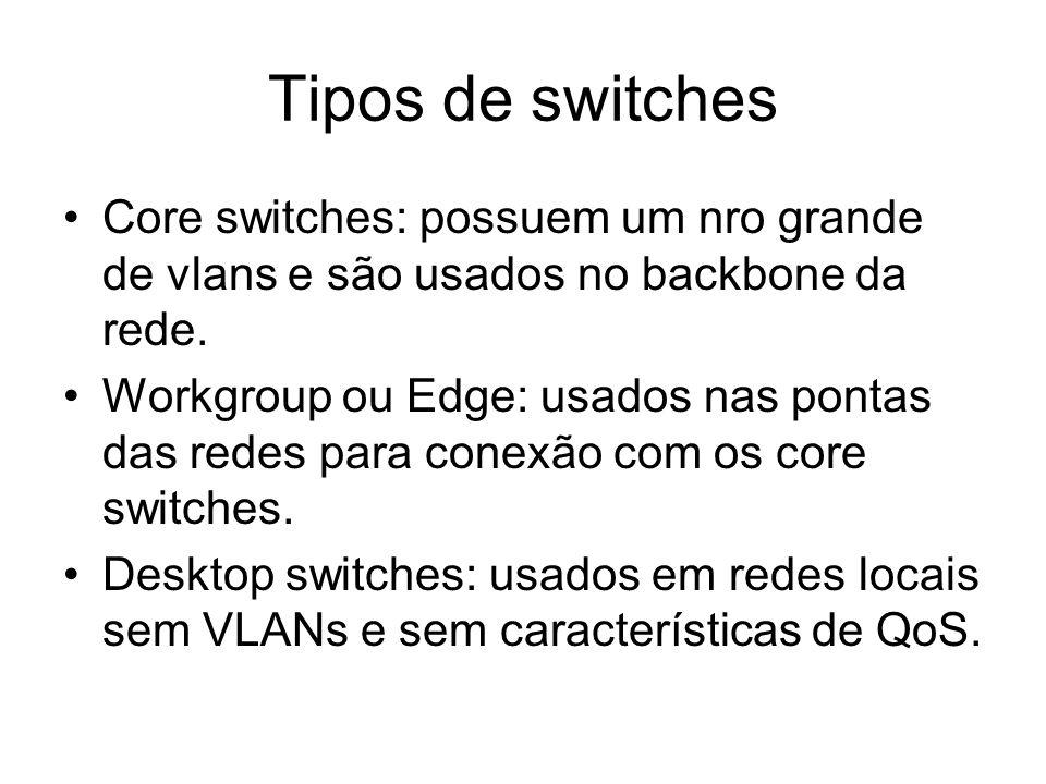 Tipos de switches Core switches: possuem um nro grande de vlans e são usados no backbone da rede.