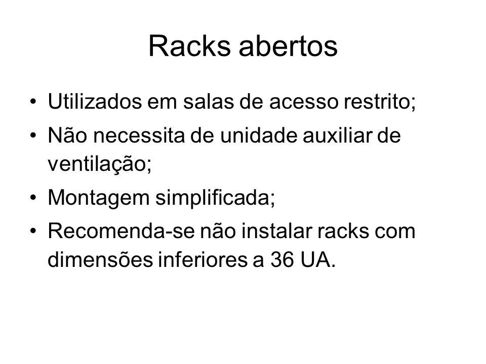 Racks abertos Utilizados em salas de acesso restrito;
