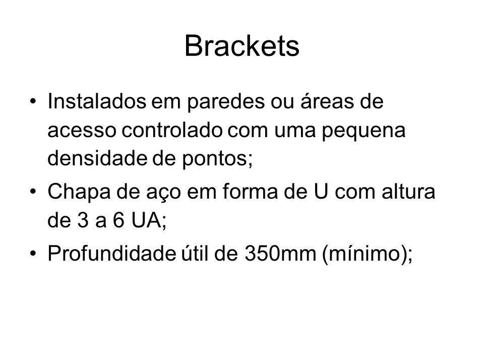 Brackets Instalados em paredes ou áreas de acesso controlado com uma pequena densidade de pontos; Chapa de aço em forma de U com altura de 3 a 6 UA;