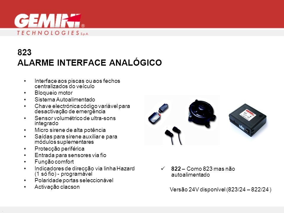 823 ALARME INTERFACE ANALÓGICO