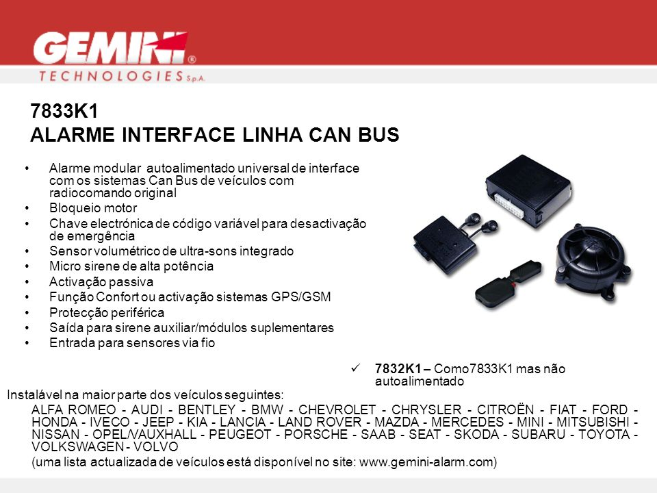 7833K1 ALARME INTERFACE LINHA CAN BUS