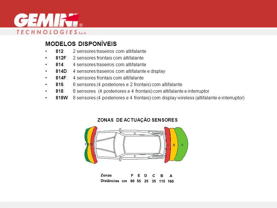 MODELOS DISPONÍVEIS 812: 2 sensores traseiros com altifalante