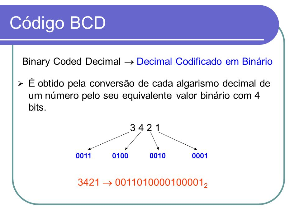 Código BCD Binary Coded Decimal  Decimal Codificado em Binário