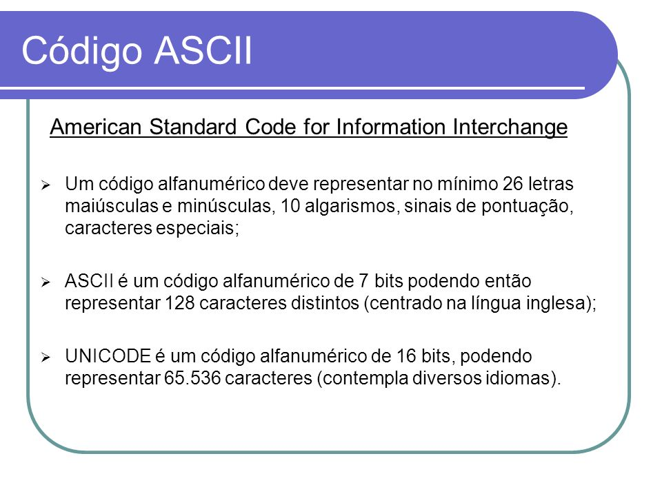 Código ASCII American Standard Code for Information Interchange