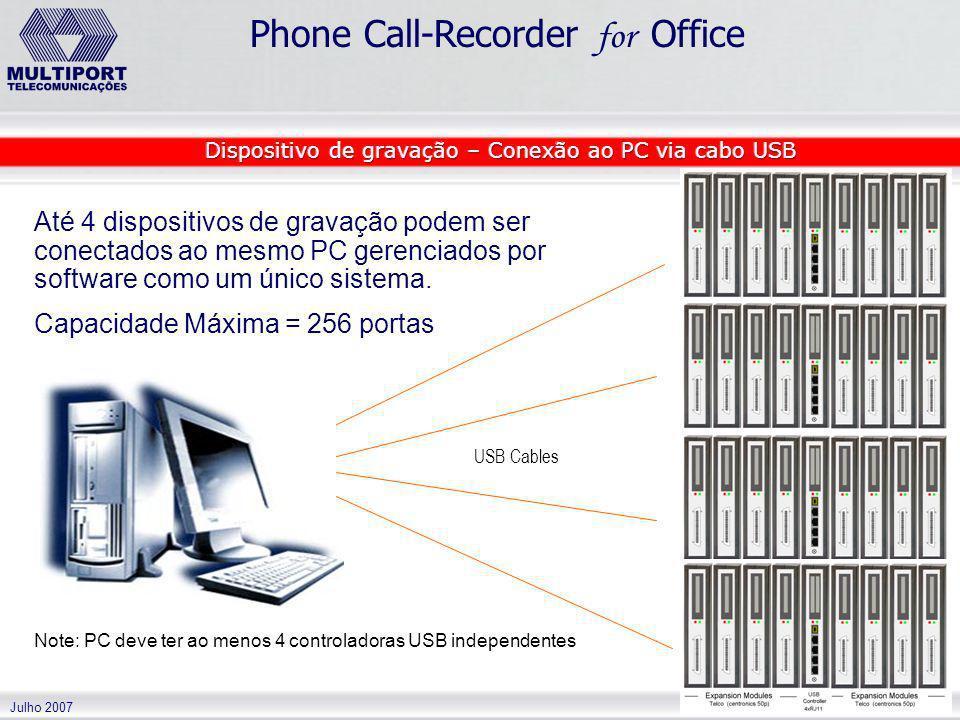Dispositivo de gravação – Conexão ao PC via cabo USB