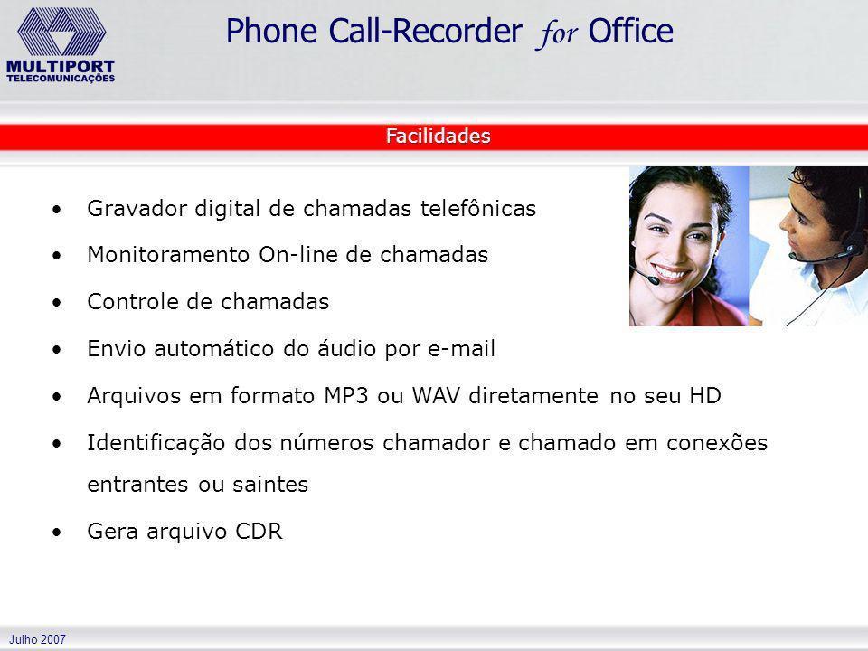 Gravador digital de chamadas telefônicas
