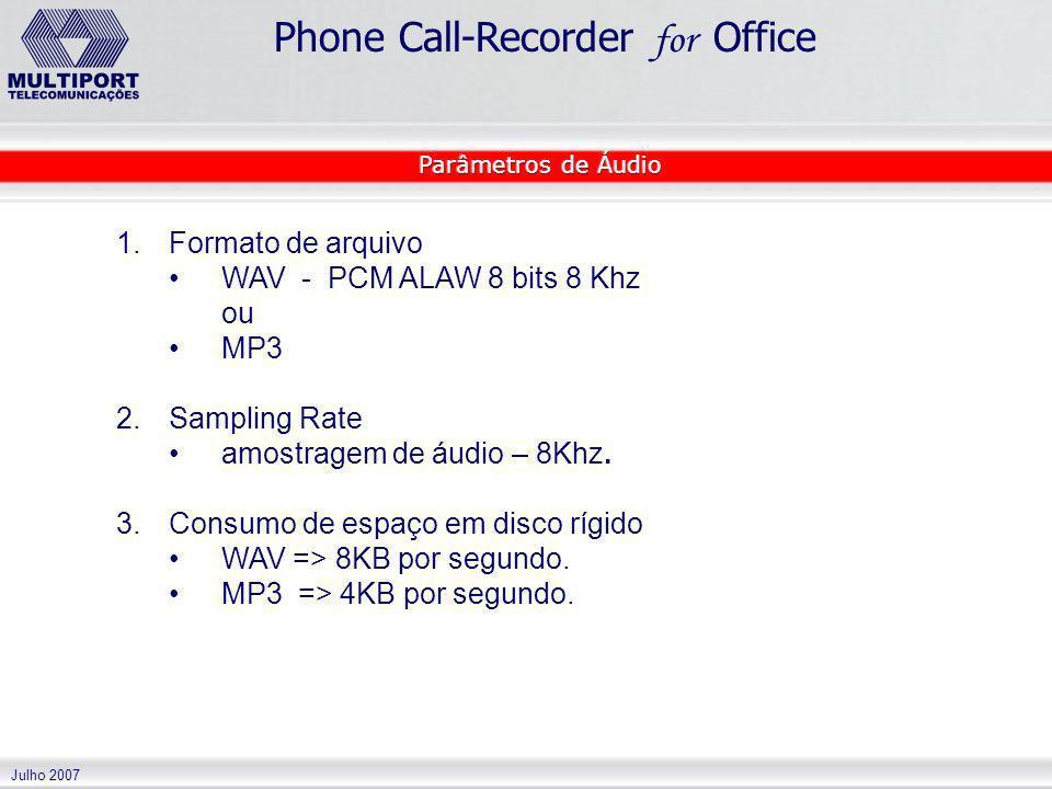 amostragem de áudio – 8Khz. Consumo de espaço em disco rígido