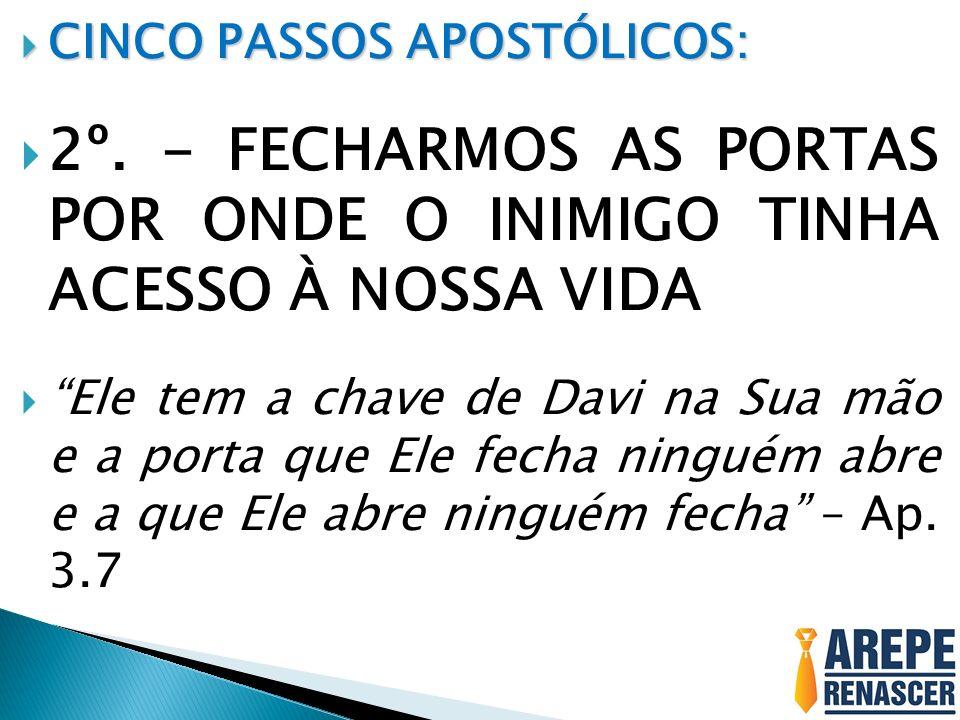 2º. - FECHARMOS AS PORTAS POR ONDE O INIMIGO TINHA ACESSO À NOSSA VIDA