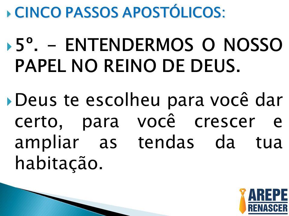 5º. - ENTENDERMOS O NOSSO PAPEL NO REINO DE DEUS.