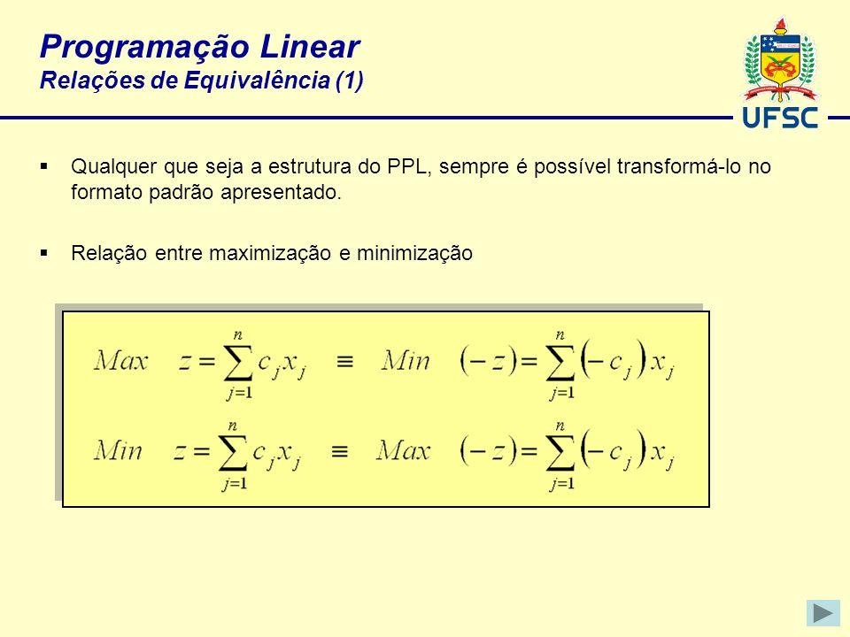 Programação Linear Relações de Equivalência (1)