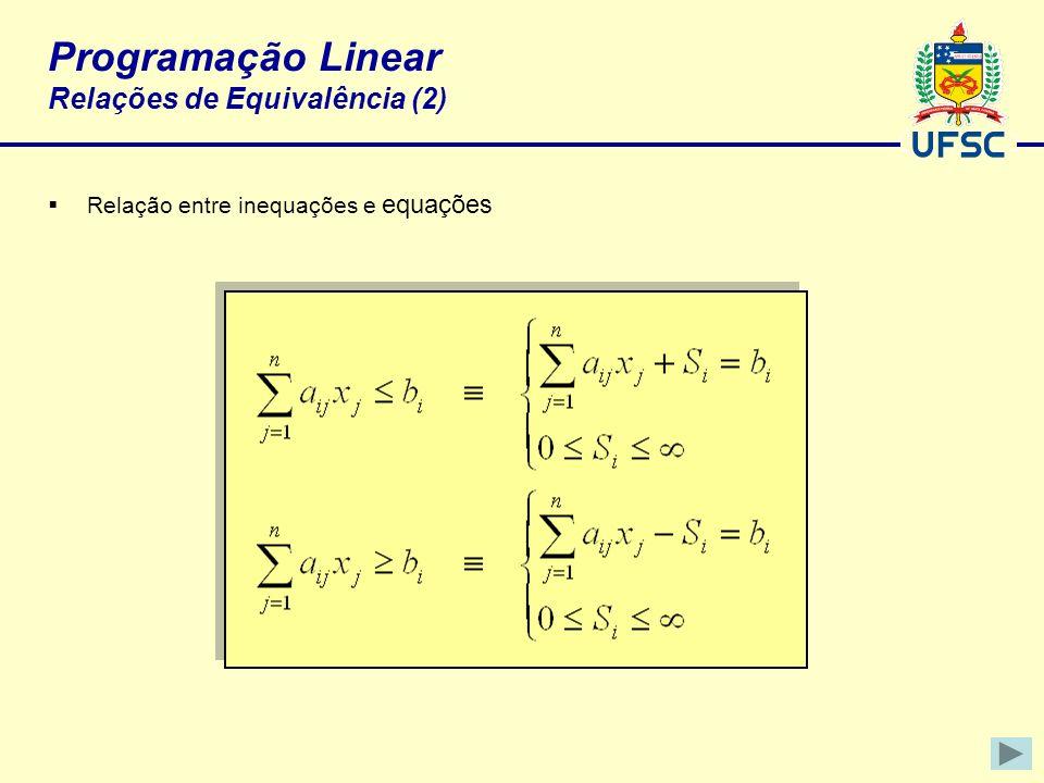 Programação Linear Relações de Equivalência (2)