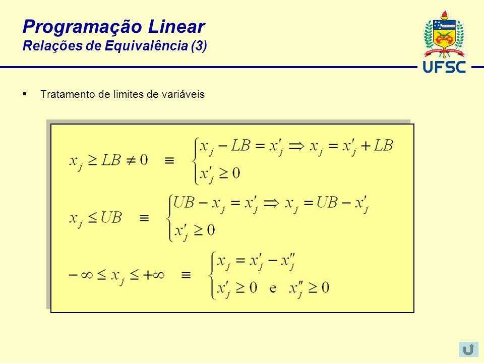 Programação Linear Relações de Equivalência (3)