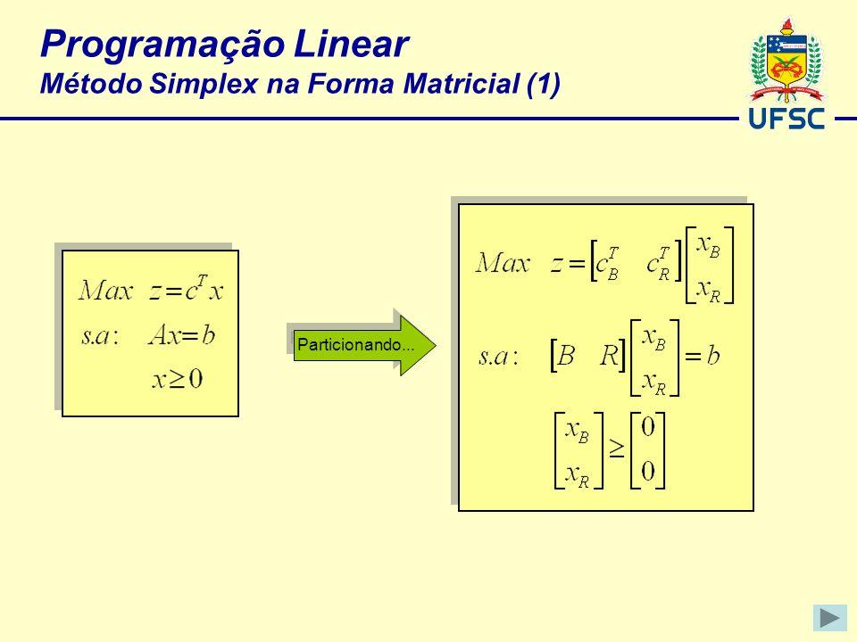 Programação Linear Método Simplex na Forma Matricial (1)