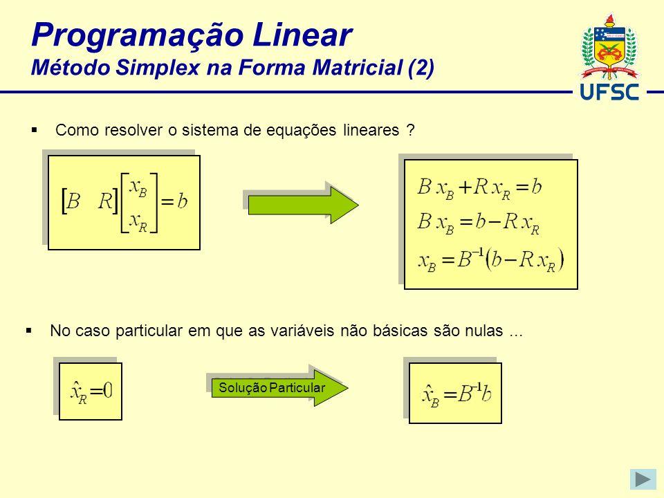 Programação Linear Método Simplex na Forma Matricial (2)