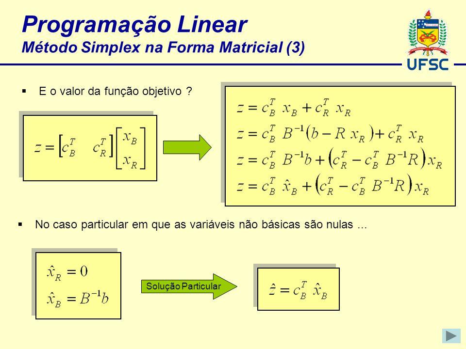 Programação Linear Método Simplex na Forma Matricial (3)
