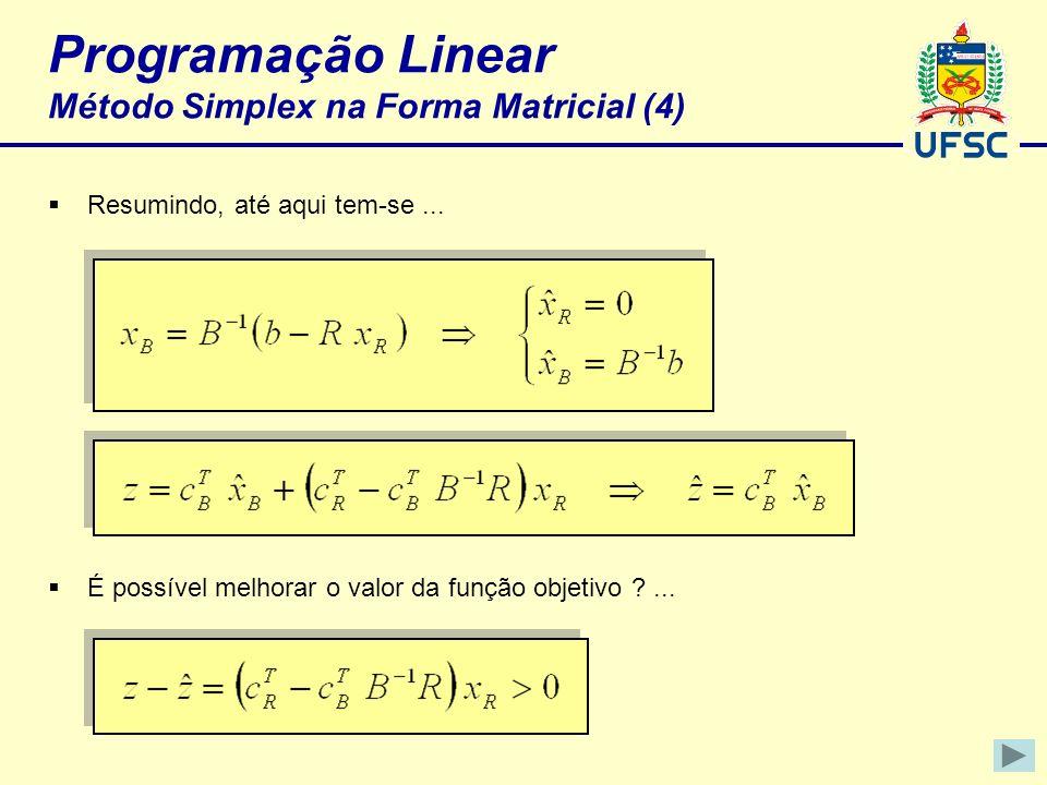Programação Linear Método Simplex na Forma Matricial (4)
