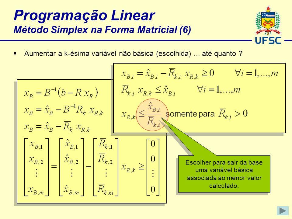 Programação Linear Método Simplex na Forma Matricial (6)