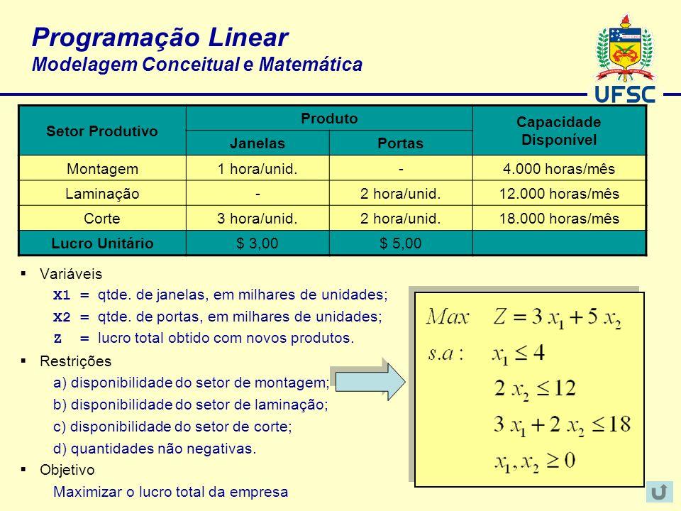 Programação Linear Modelagem Conceitual e Matemática