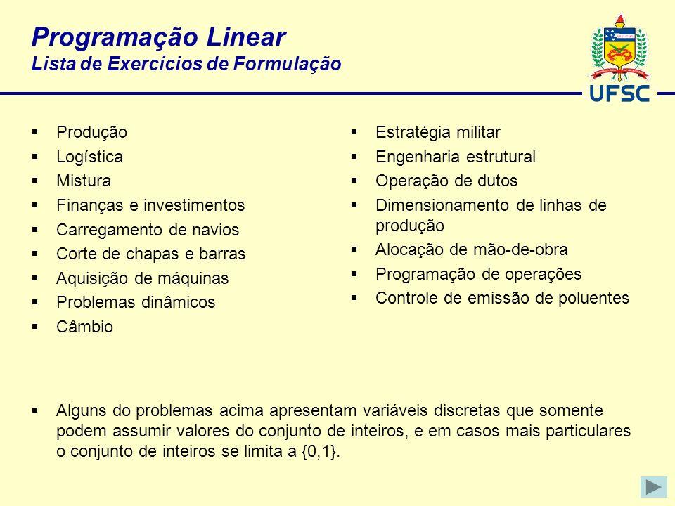 Programação Linear Lista de Exercícios de Formulação