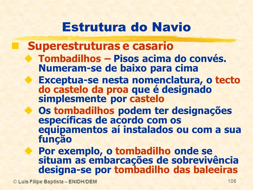Estrutura do Navio Superestruturas e casario