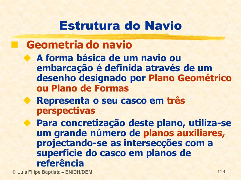 Estrutura do Navio Geometria do navio