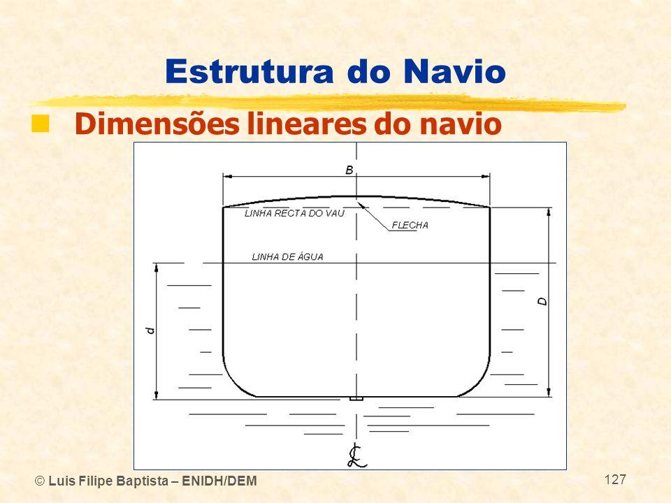 Estrutura do Navio Dimensões lineares do navio