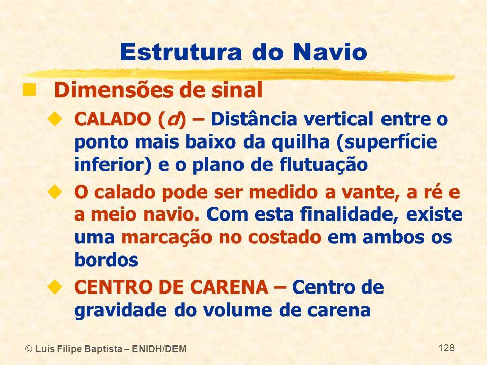 Estrutura do Navio Dimensões de sinal