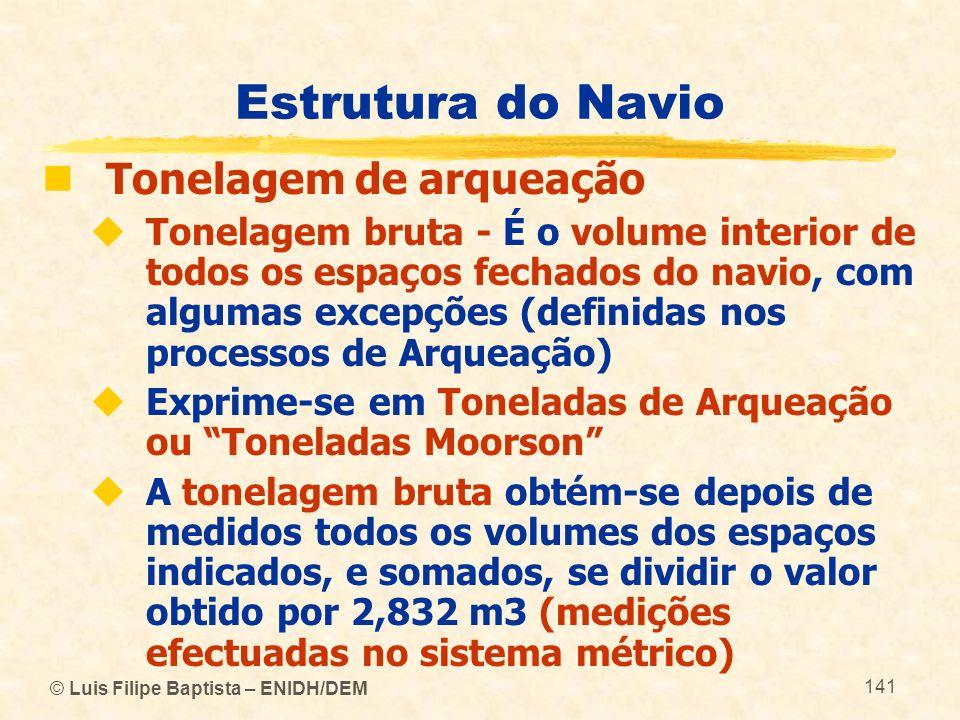 Estrutura do Navio Tonelagem de arqueação