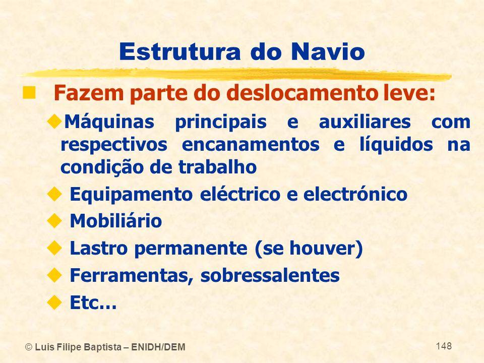 Estrutura do Navio Fazem parte do deslocamento leve: