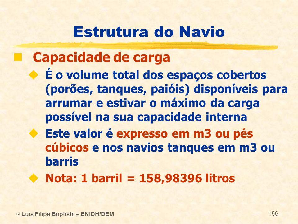 Estrutura do Navio Capacidade de carga