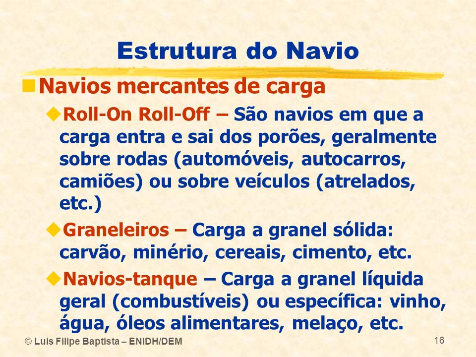 Estrutura do Navio Navios mercantes de carga