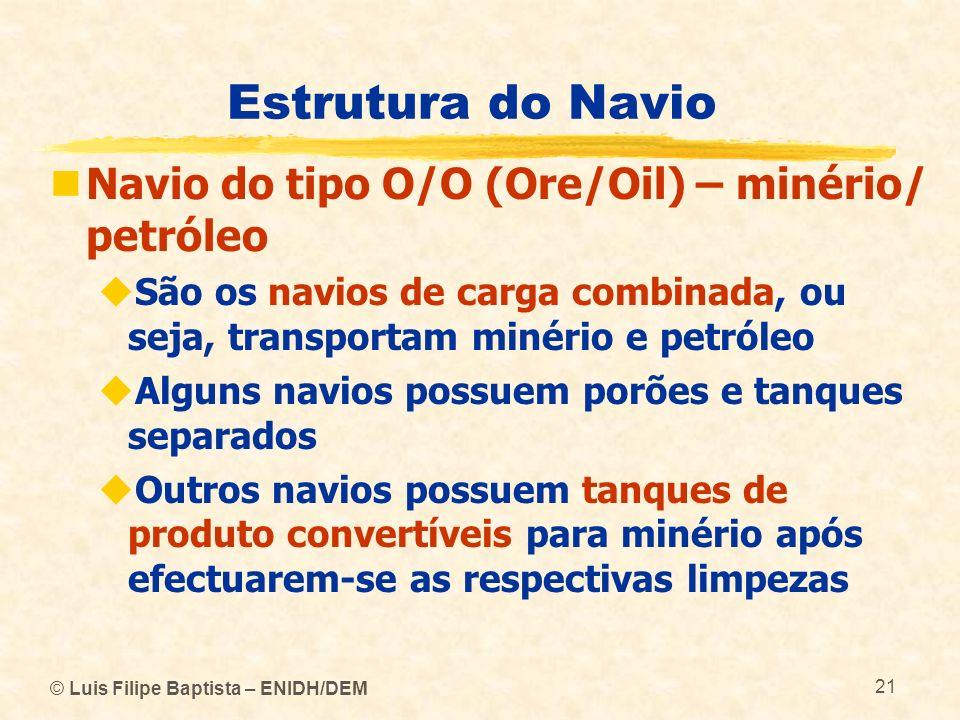 Estrutura do Navio Navio do tipo O/O (Ore/Oil) – minério/ petróleo