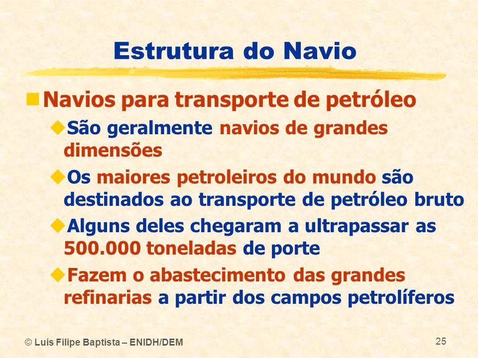 Estrutura do Navio Navios para transporte de petróleo