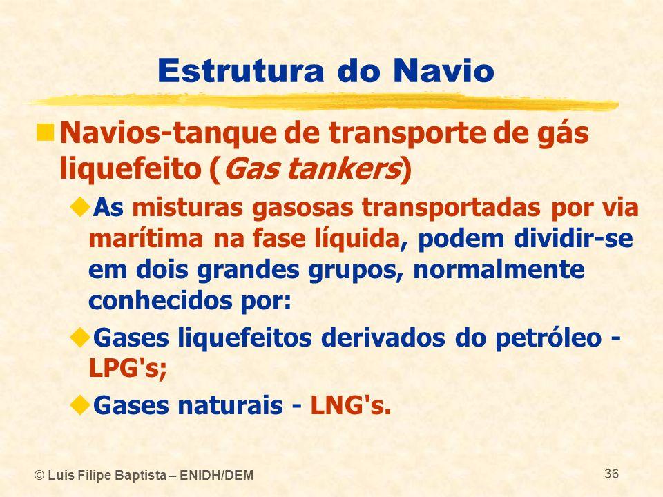 Estrutura do Navio Navios-tanque de transporte de gás liquefeito (Gas tankers)