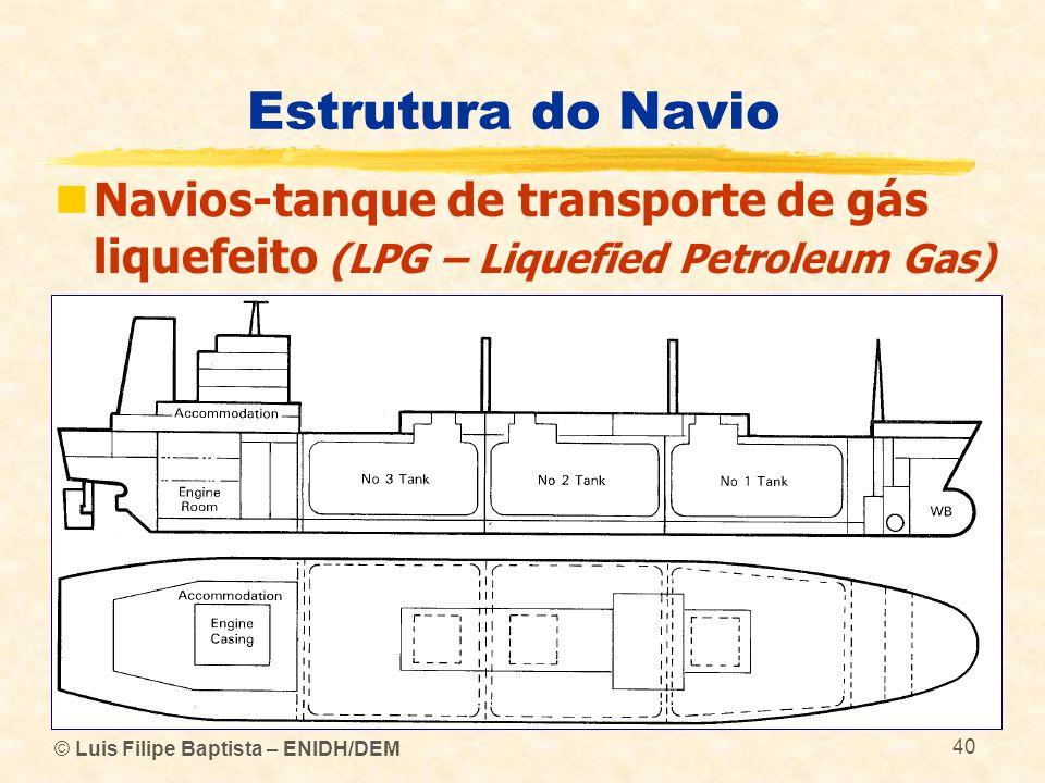 Estrutura do Navio Navios-tanque de transporte de gás liquefeito (LPG – Liquefied Petroleum Gas) © Luis Filipe Baptista – ENIDH/DEM.