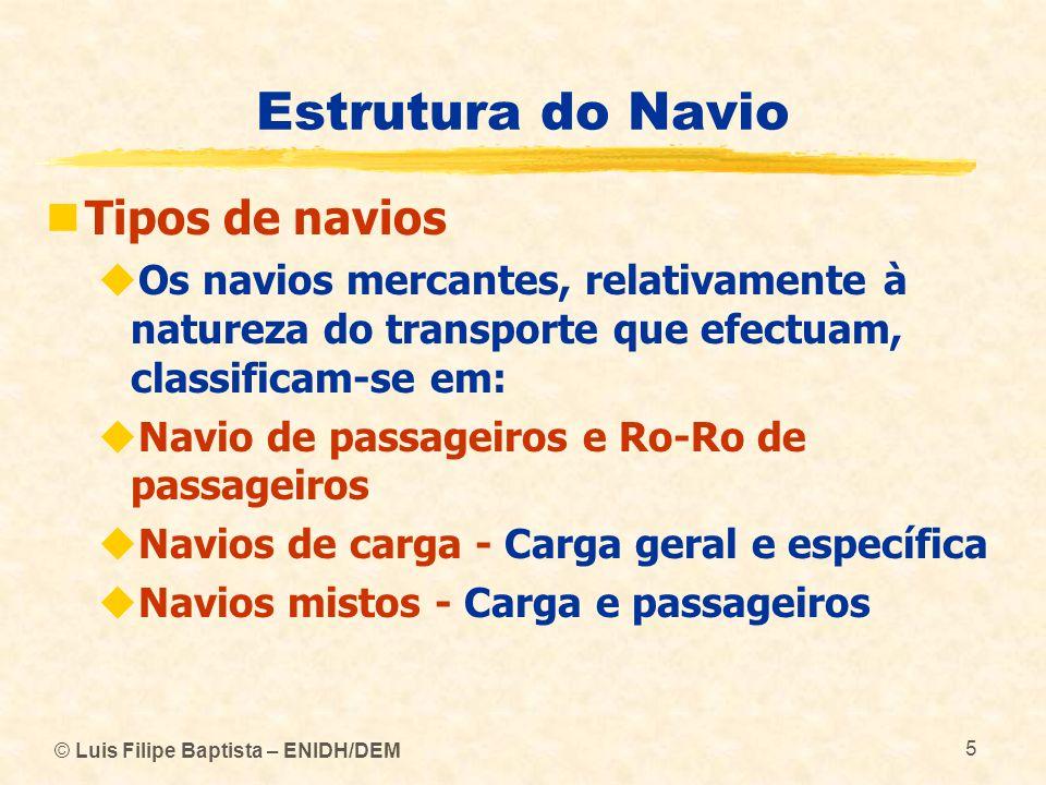 Estrutura do Navio Tipos de navios
