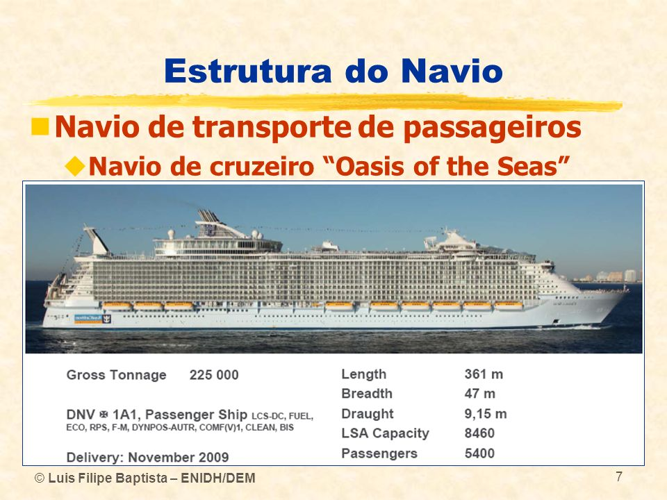 Estrutura do Navio Navio de transporte de passageiros