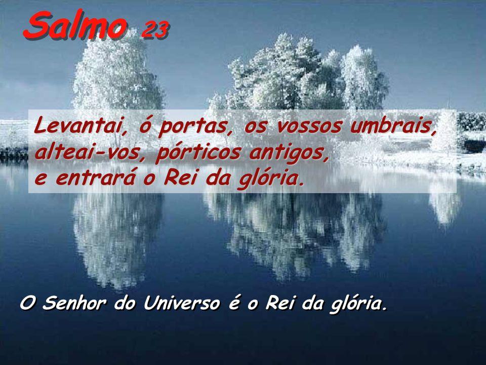 Salmo 23 Levantai, ó portas, os vossos umbrais, alteai-vos, pórticos antigos, e entrará o Rei da glória.