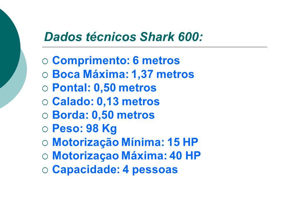 Dados técnicos Shark 600: Comprimento: 6 metros