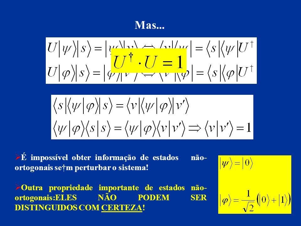 Mas... É impossível obter informação de estados não-ortogonais se†m perturbar o sistema!