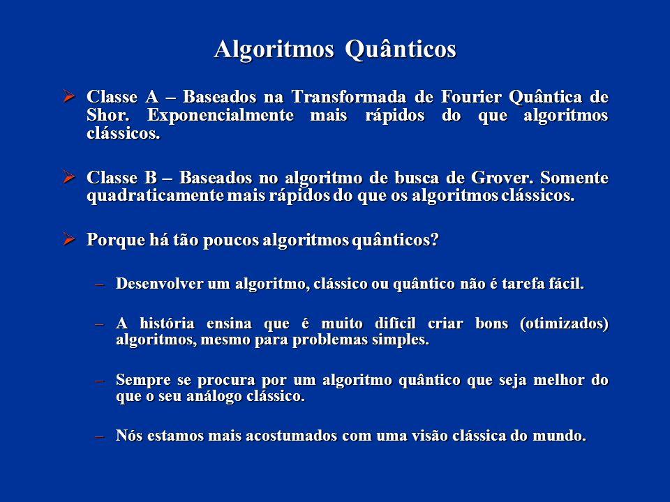 Algoritmos Quânticos Classe A – Baseados na Transformada de Fourier Quântica de Shor. Exponencialmente mais rápidos do que algoritmos clássicos.