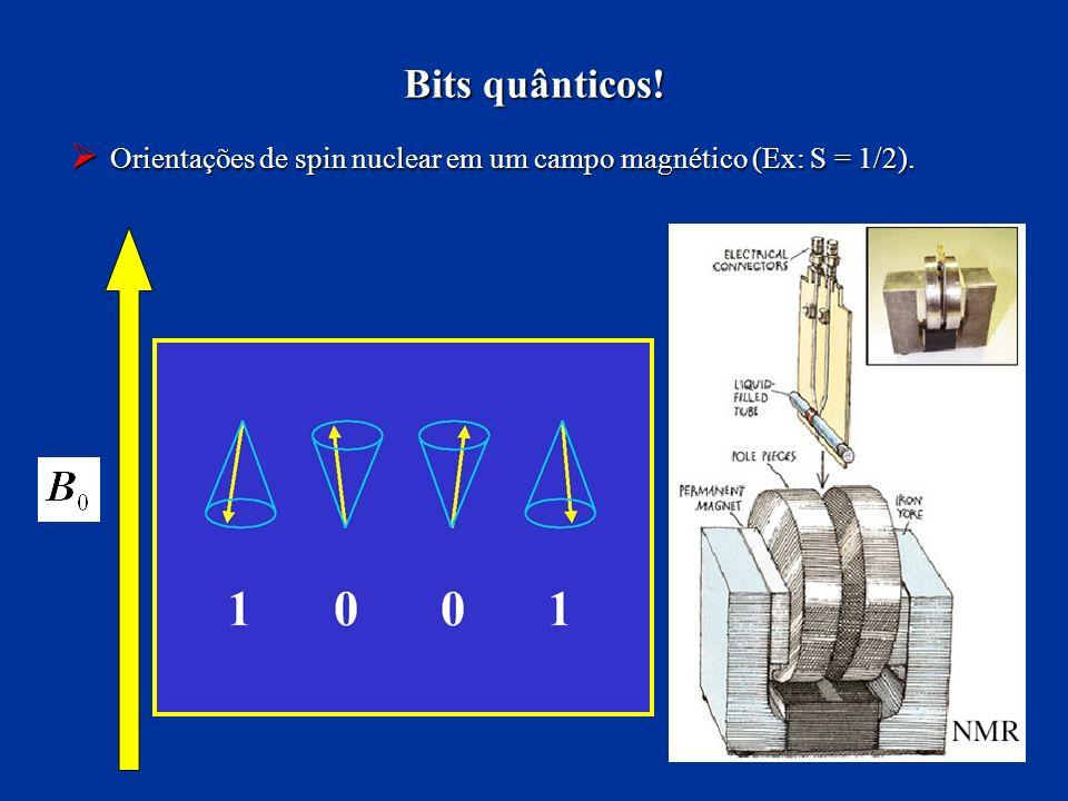 Bits quânticos! Orientações de spin nuclear em um campo magnético (Ex: S = 1/2).