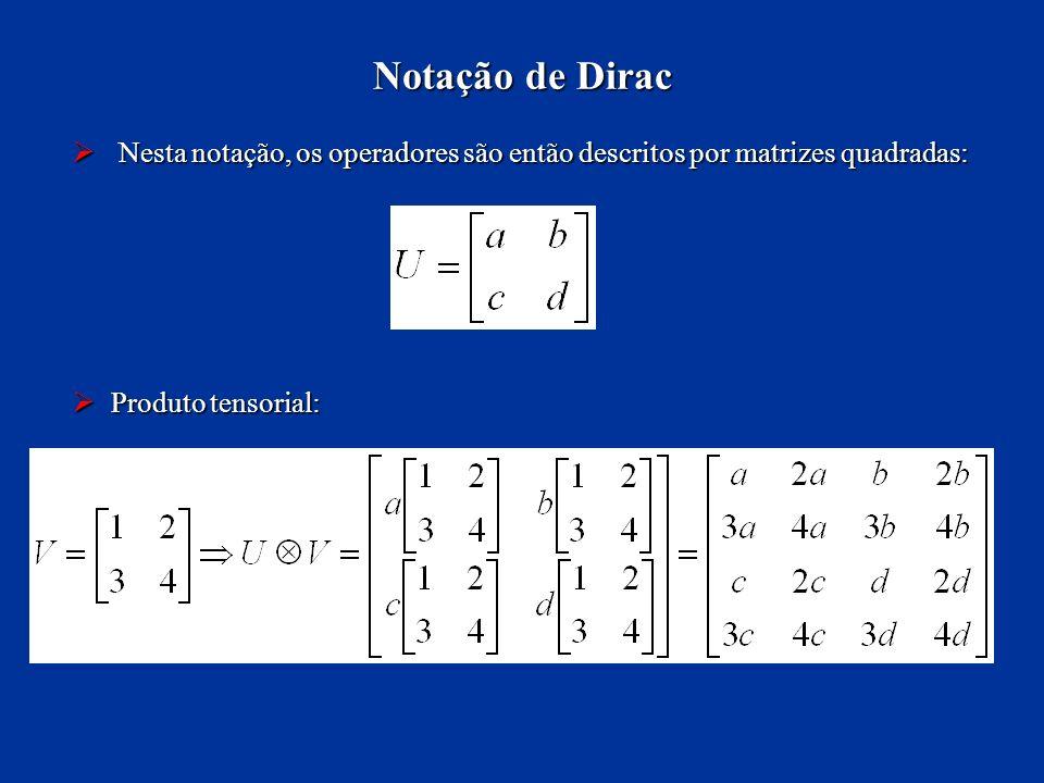 Notação de Dirac Nesta notação, os operadores são então descritos por matrizes quadradas: Produto tensorial: