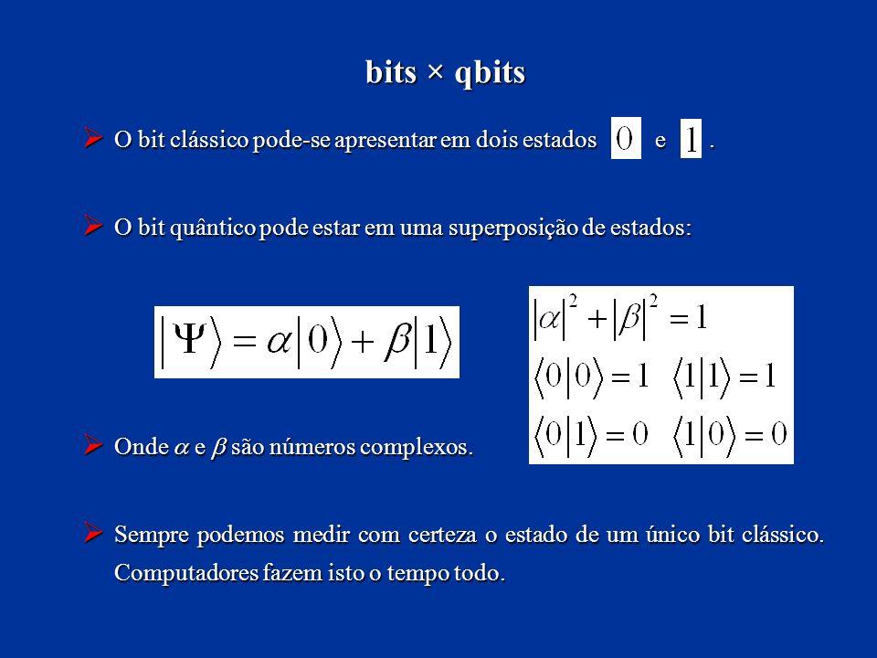 bits × qbits O bit clássico pode-se apresentar em dois estados e .