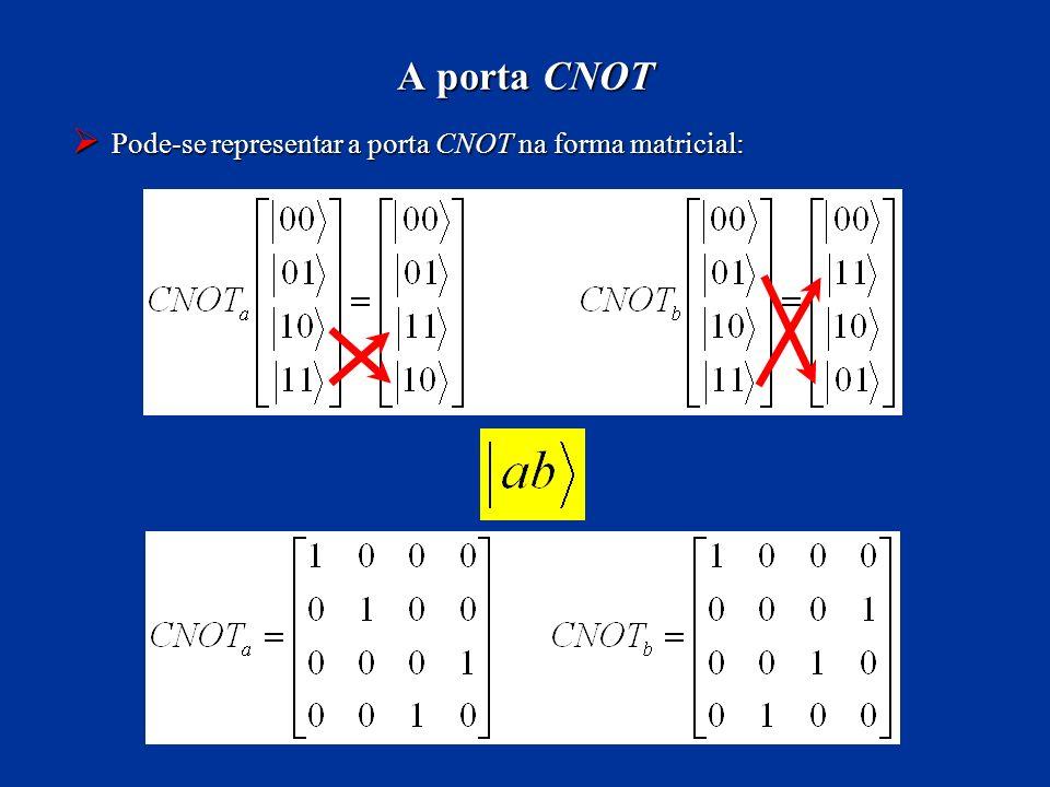 A porta CNOT Pode-se representar a porta CNOT na forma matricial: