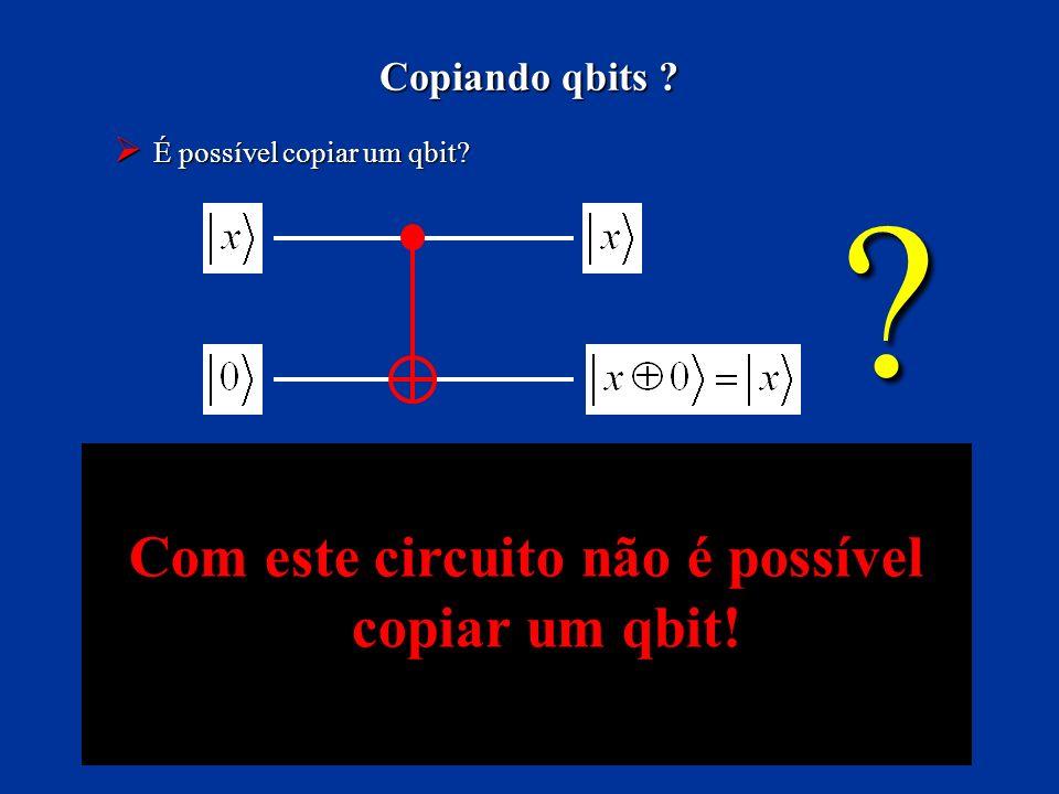 Com este circuito não é possível copiar um qbit!