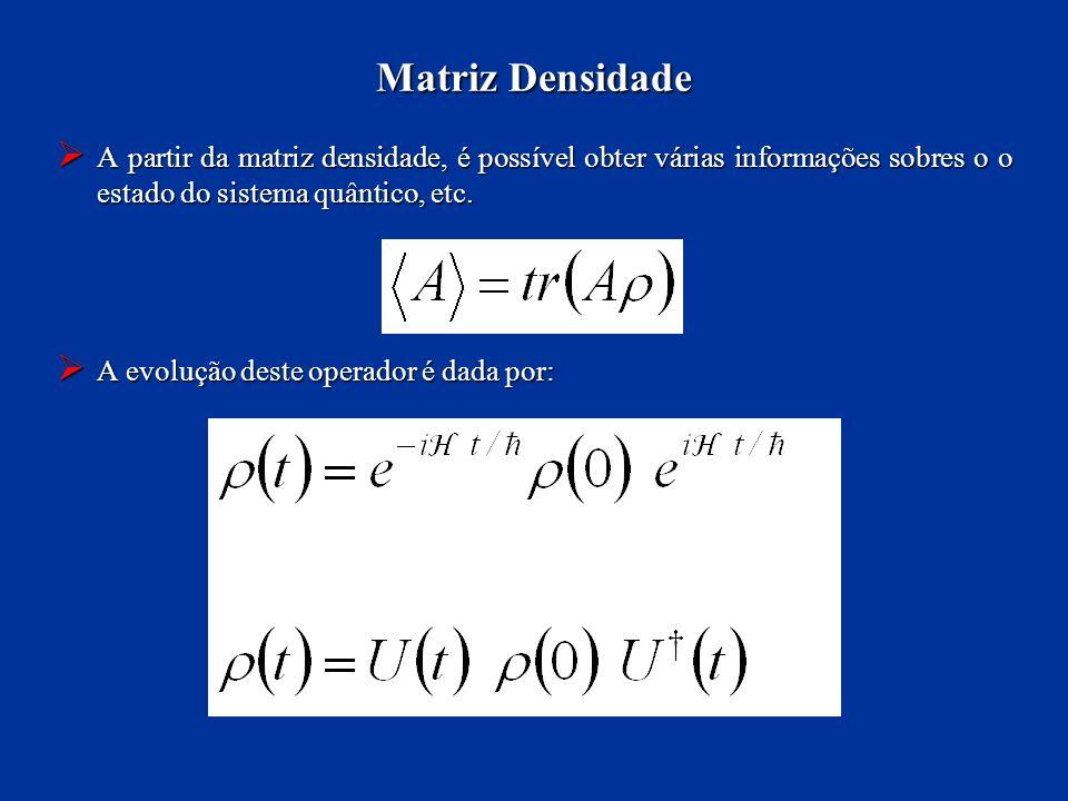 Matriz Densidade A partir da matriz densidade, é possível obter várias informações sobres o o estado do sistema quântico, etc.