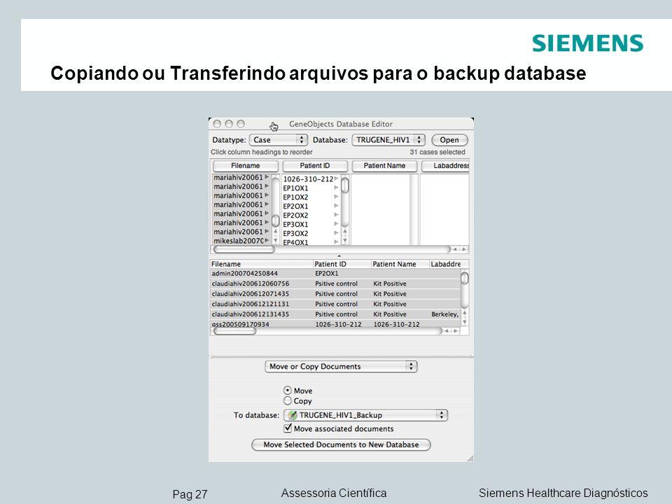 Copiando ou Transferindo arquivos para o backup database