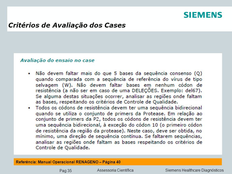 Critérios de Avaliação dos Cases